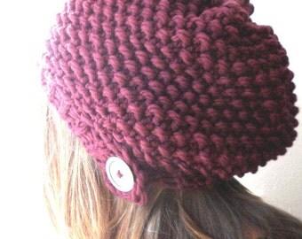 PATTERN knit hat, slouchy knit hat, knitted hat, bohemian hat in soft merino wool -bibiana