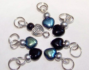 SJK Tinies -- Delicate Stitch Markers for Small Needles -- Eeny Hearts (Black with Mirror Finish)