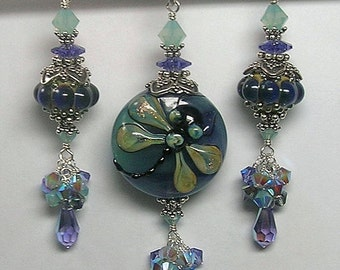 Handcrafted Artisan Lampwork Glass Purple and Turquoise DRaGoNFLy Earrings and Pendant Set SRAJD