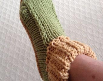 SLIPPERS/SOCKETTES/Ladies Knit Non Slip Slippers-Country Slippers- Cottage Slippers - Sockettes-Knit Scuffs-Knit House Slipper