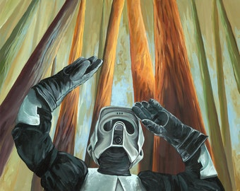 Biker Scout Stormtrooper from Star Wars with Forest Moon Endor Redwood trees behind him Digital print from original artwork  11x13