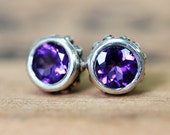Amethyst stud earrings, amethyst studs, bezel stud earrings, February birthstone earrings, purple stone earrings, gift ready to ship wrought