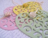 Spring easter romantic decoration ornate laser cut hearts with rose & ribbon pastel colours ink green lemon set of 3