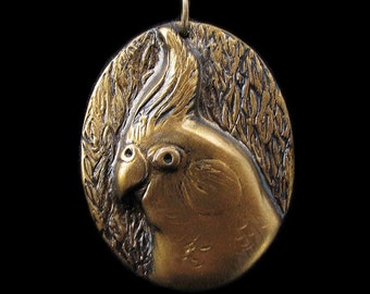 Unique Gold Finish Cockatiel Medallion Clay Bird Art Parrot Pendant Faux Metal (no chain or cord)