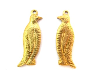 Raw Brass Penguin Charms - Left and Right Facing (4X) (M631)