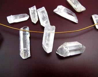 Crystal Clear Rough Quartz Beads  (6x) (NS813)
