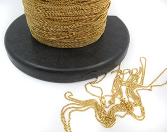 Dainty Gold Plated on Brass Curb Chain (4 feet) (C918)
