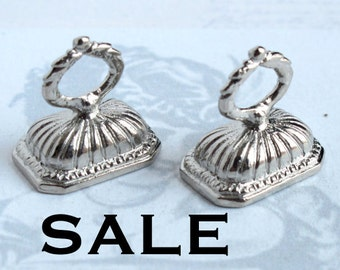 Vintage Rhodium Plated Stone Finding Pendants (4X) (F528) SALE - 50% off