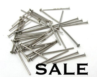 Rhodium Plated Headpins - 21 Gauge (21 Grams - approx 300x) (F580) SALE - 66% off