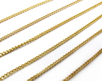 Vintage Gold Plated Curb Chain Necklace Findings (4X) (16 inches) (C508)