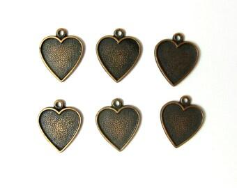 Vintage Antiqued Copper Heart Engraving Charms (12X) (V436)