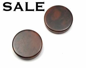 Vintage Dark Brown Tortoise Shell Bakelite Plastic Chips/Pendants (4X) (P543) SALE - 60% off