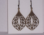 Brass filigree drop earrings, dangle, wedding, bridesmaids, antiqued style,graduation gifts