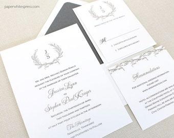 Laurel Wreath Wedding Invitations, Monogram Wedding Invitations, Wreath Monogram Invitations, Classic Wreath Wedding Invitations, Timeless