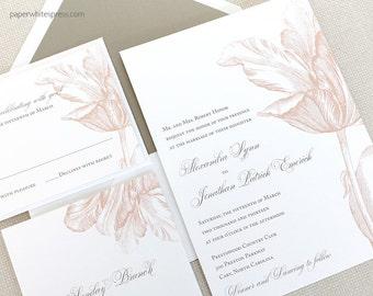 Tulip Wedding Invitation, Botanical Wedding Invitations, Spring Wedding Invitations - Sample Set
