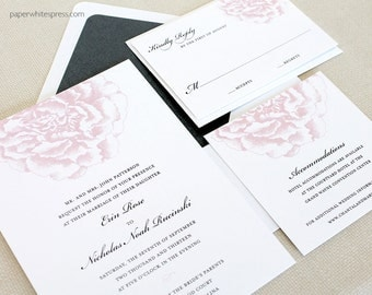 Pink Peony Wedding Invitations, Peony Invitations, Watercolor Peony Wedding Invitations, Watercolor Floral Wedding Invitations, Printed