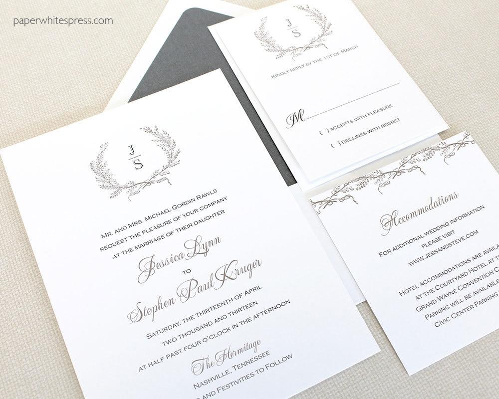 Initial Wedding Invitations: Laurel Wreath Wedding Invitations Monogram Wedding