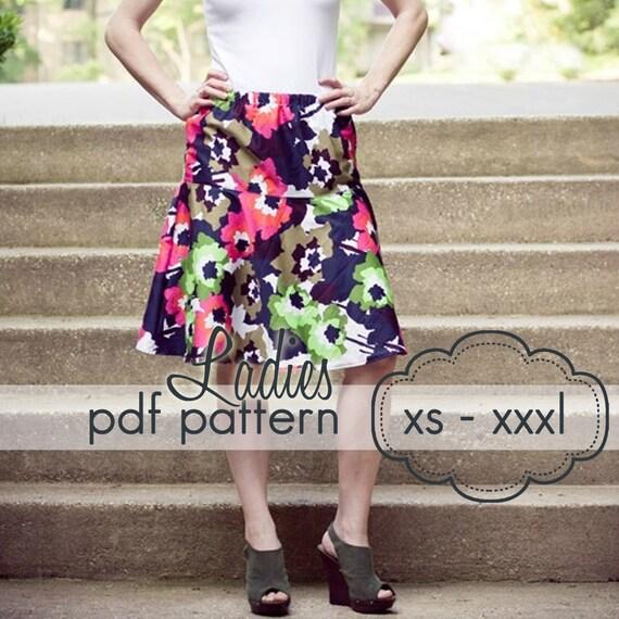 Easy Swing Skirt - INSTANT download - Ladies PDF Sewing Pattern - xs, s, m, l, xl, xxl