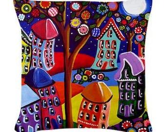 Funky Houses Trees Folk Art Pillow - Woven Throw Pillow Whimsical Art by Renie Britenbucher