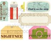 Set of 5 Digital Collage Sheets Travel Instant Download