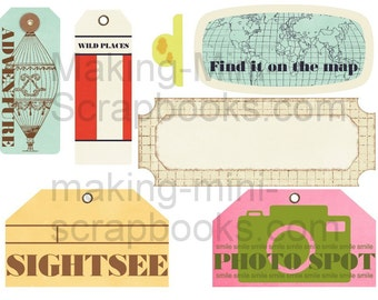 Set of 5 SHEETS Digital Collage Sheets Travel Instant Download