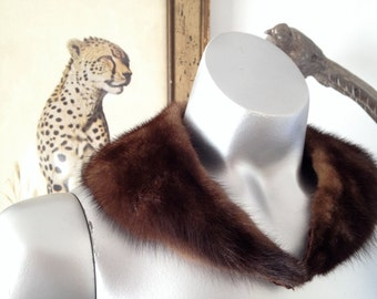 Rich Brown Real Fur Mid Century Collar or Scarf