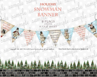 ART TEA LIFE Snowman banner collage sheet scrapbook journal streamer party decoration digital file clip art flags garland holiday christmas