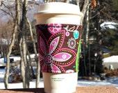 FREE SHIPPING UPGRADE with minimum -  Fabric coffee cozy / cup holder / coffee sleeve / can koosie / mason jar cozy - Big flowers in neon