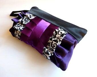 Purple and Black Floral Print Ruffled Wristlet