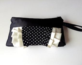 Black and Ivory polka dot ruffle wristlet