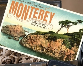 Vintage Postcard Save the Date (Monterey, CA) - Design Fee