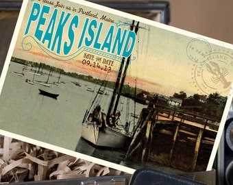 Vintage Postcard Save the Date (Peaks Island) - Design Fee