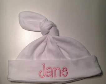 Personalized Infant Newborn Cap Hat Monogrammed Knotted