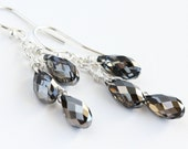 CUSTOM ORDER - Crystal Night Trio Earrings with Swarovski Teardrop Crystals and Gold Fill