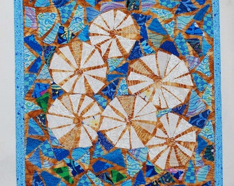 She Sells Sea Shells..Fabric Mosaic Quilt Art to hang on your wall