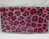 Pink Cheetah Checkbook Cover For Duplicate Checks Animal Print Cash Holder