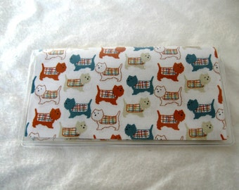 Dog Checkbook Cover - Dogs in Sweaters Cash Holder - Dog Checkbook Holder - Works with Duplicate Checks