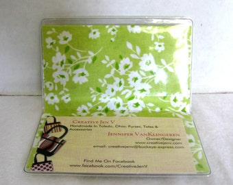 Business Card Holder Floral Greens Mini Wallet