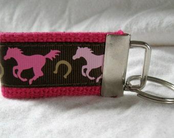 Horse Key Fob - Mini Key Chain - Western Keychain - Horseshoe Keychain - Horse Zipper Pull - PINK Horses Key Ring - Handmade Keychain