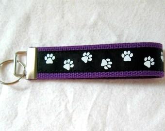 Paw Print Key Chain - PURPLE Black Animal Key Fob - Wristlet School Spirit Keychain - Dog Paw Print - Panther Paw Print - Cat Paw Print