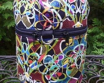Knitting bag, drawstring bag, knitting in public bag, Lots of Knots, small project bag, Kipster