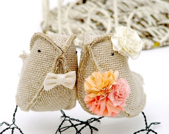 Wedding Topper Burlap Birds with Bow Tie Flower and Bouquet Woodland Wedding