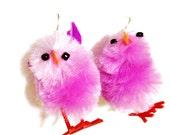 Purple  Fuzzy Little Easter Chick Earrings