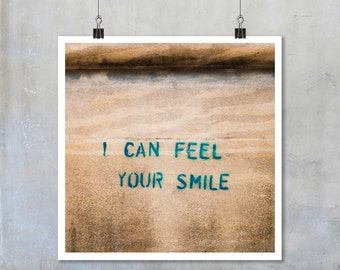 Valentine's Day Print: I Can Feel Your Smile Brown Wall Romantic Fine Art Photo Photograph Print large art poster 7x7 12x12 18x18 22x22