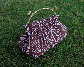 Purse  in Brown Polynesian Block Print with 8 Inch Frame