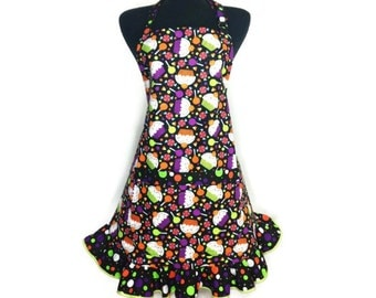 Halloween Cupcake Apron for Women , Retro Polka Dot Ruffle , Adjustable with Pocket