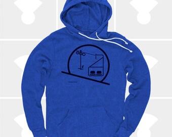 Skiing Snowboarding Shirt, Men's Chairlift Hoodie, Ski Gift, Eames Chair, Pullove Sweatshirt, Blue, Tahoe, Utah, Men's Clothes, Gift for Men