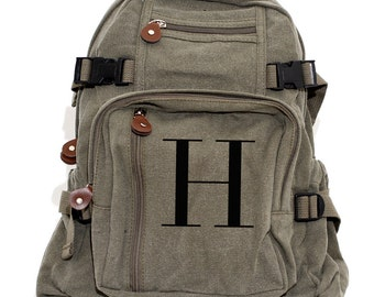 Monogram Backpack Personalized, Canvas Backpack, School Backpack, Letter H, Diaper Bag Backpack, Kids Backpack, Women Backpack, Men Backpack