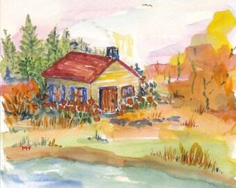 COTTAGE an Original Watercolor Landscape