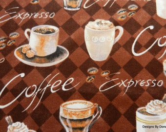One Half Yard Cut Quilt Fabric, Coffee Cups, Mugs, Beans, Working, Brown Diamonds, Brother Sister Designs, Sewing-Quilting-Craft Supplies